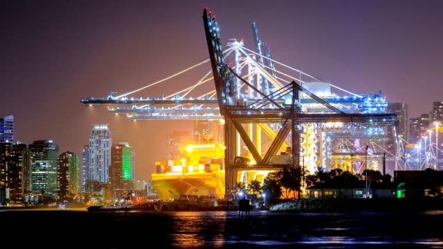 port of miami and miami skyline - miami dade county stock videos & royalty-free footage
