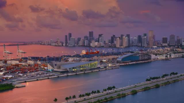aerial port of miami, florida at dawn - miami stock videos & royalty-free footage