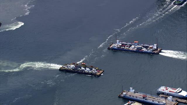 vídeos de stock, filmes e b-roll de porto de santos-vista aérea-são paulo, no município, brasil - ferry