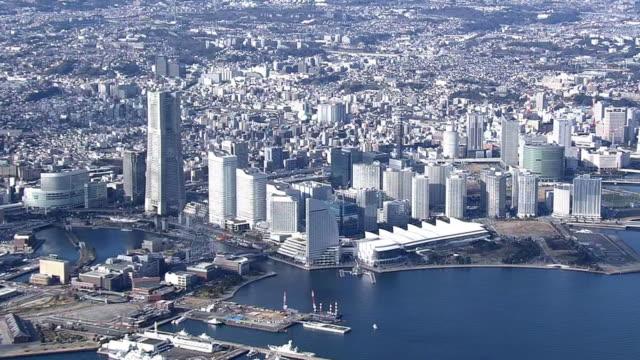 aerial, port of yokohama, japan - yokohama stock videos and b-roll footage