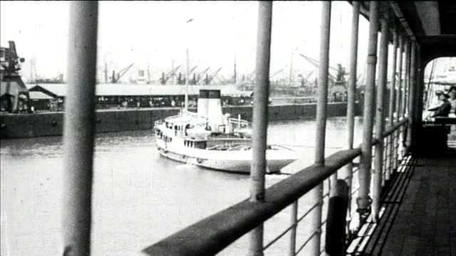 1925 port said - ship coming into port - suez canal stock videos & royalty-free footage