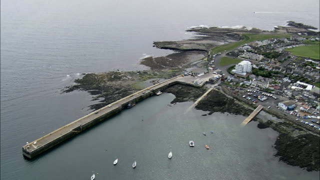 port st mary's  - aerial view -, isle of man - isle of man stock videos & royalty-free footage