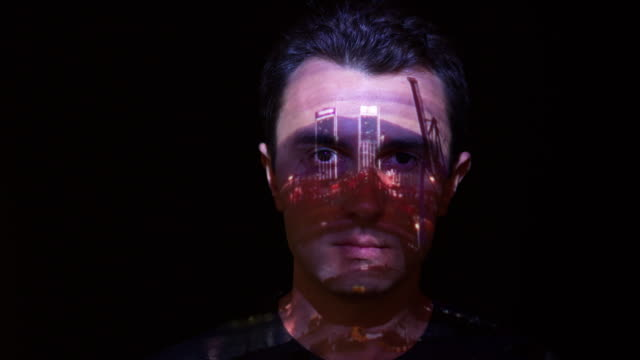 Port timelapse projection on man's face