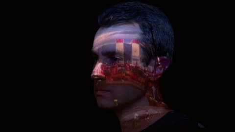vídeos y material grabado en eventos de stock de proyección de timelapse de puerto en la cara del hombre - realidad aumentada espacial
