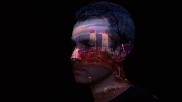 port timelapse projection on man's face - projection equipment stock videos and b-roll footage