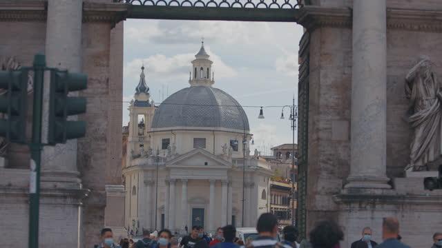 porta del popolo, and  piazza del popolo in rome - square stock videos & royalty-free footage