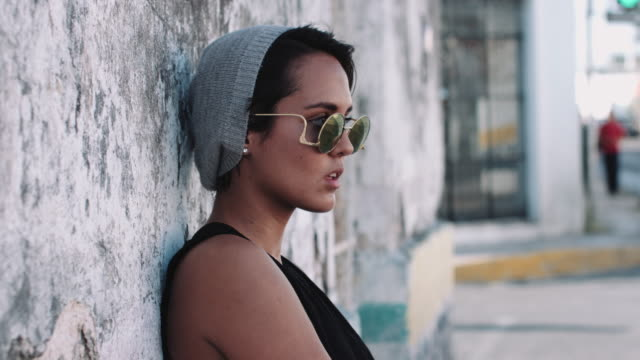portait of urban skate girl in street - hipster culture stock videos & royalty-free footage
