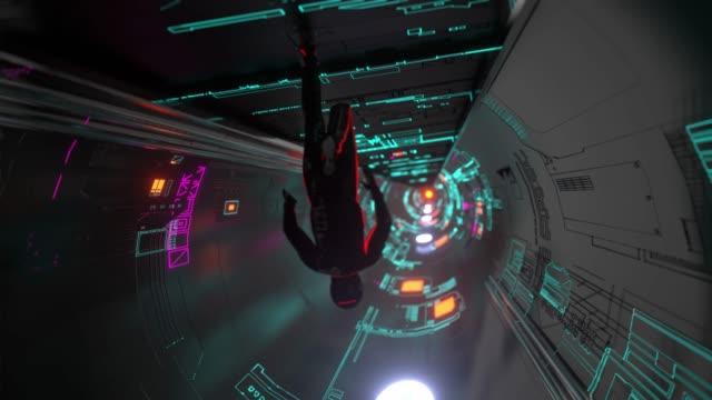 portalgitterraum mit kosmonautenkorridor - raumschiff stock-videos und b-roll-filmmaterial