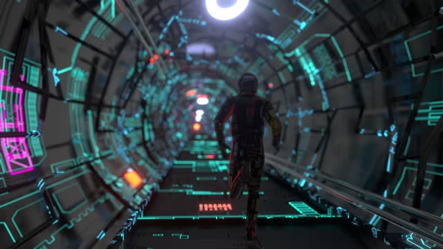 portal grid space with cosmonaut corridor - helmet stock videos & royalty-free footage