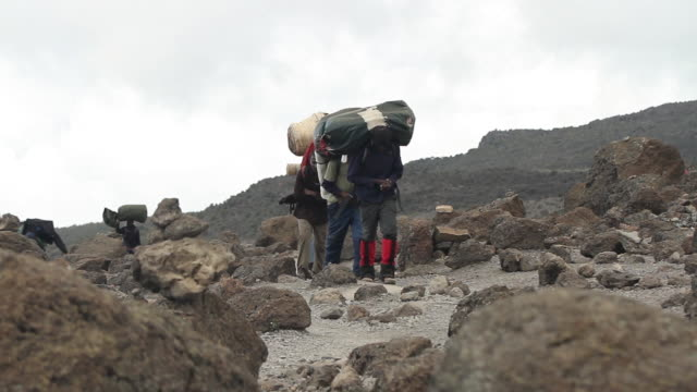 porters carrying heavy packs, walking to cam in tanzania - porter stock videos & royalty-free footage