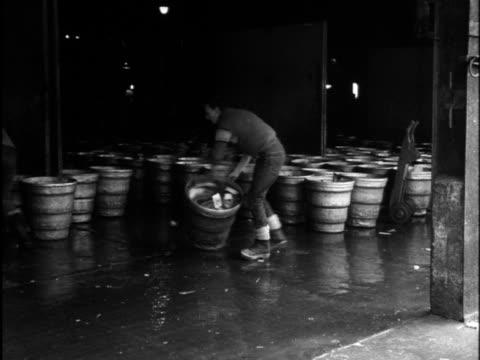 vídeos de stock, filmes e b-roll de porters roll baskets of fish into a warehouse at hull fish market - indústria da pesca