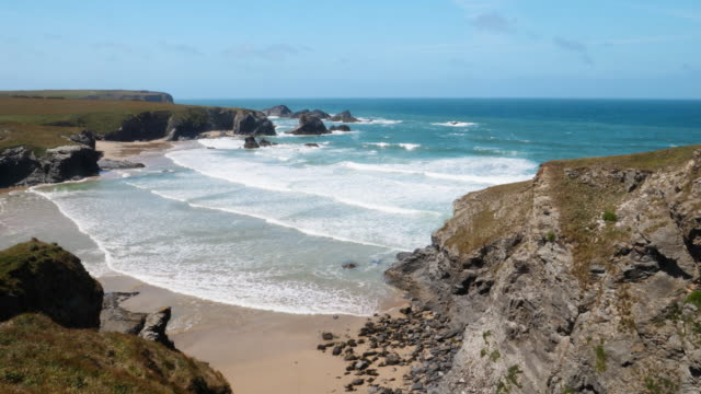 porthcothan beach, cornwall. - cornwall england stock videos & royalty-free footage