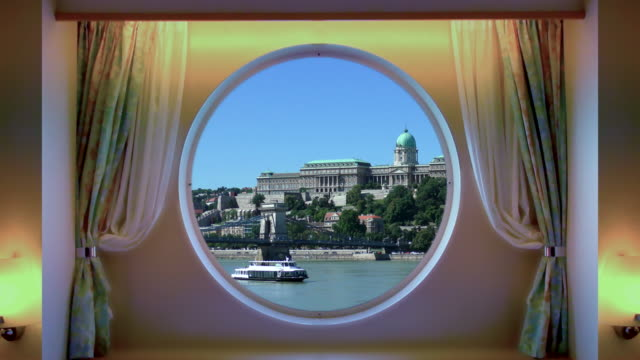 porthole view - budapest, hungary - cruising stock videos & royalty-free footage