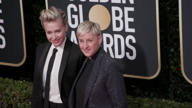 vídeos y material grabado en eventos de stock de portia de rossi and ellen degeneres at 77th annual golden globe awards at the beverly hilton hotel on january 05 2020 in beverly hills california - ellen degeneres