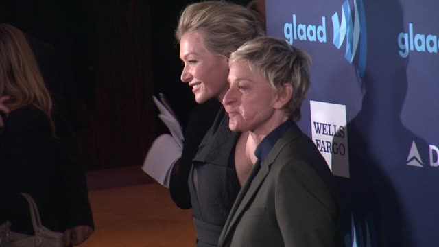Portia de Rossi and Ellen DeGeneres at the 26th Annual GLAAD Media Awards at The Beverly Hilton Hotel on March 21 2015 in Beverly Hills California
