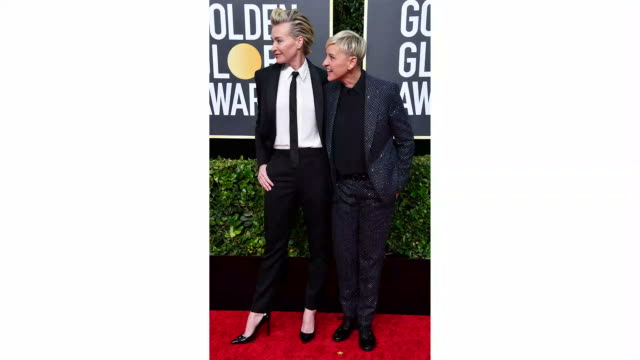 portia de rossi and ellen degeneres attend the 77th annual golden globe awards at the beverly hilton hotel on january 05 2020 in beverly hills... - the beverly hilton hotel stock-videos und b-roll-filmmaterial