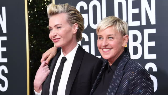 vídeos y material grabado en eventos de stock de portia de rossi and ellen degeneres attend the 77th annual golden globe awards at the beverly hilton hotel on january 05 2020 in beverly hills... - ellen degeneres
