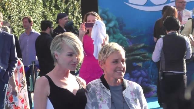 Portia de Rossi Ellen DeGeneres at Finding Dory Premiere at El Capitan Theatre in Hollywood at Celebrity Sightings in Los Angeles on June 08 2016 in...