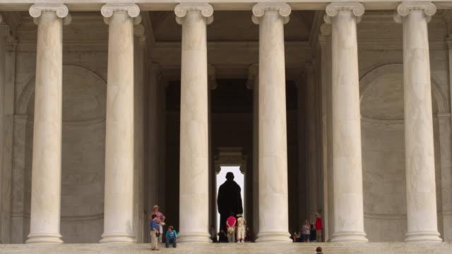 ws portico and status of thomas jefferson memorial, washington, dc - jefferson memorial stock videos and b-roll footage
