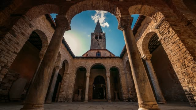 porticus in the byzantine euphrasian basilica, porec, istria, croatia - byzantine stock videos & royalty-free footage