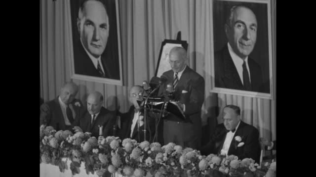 portion of harry warner's speech at the motion picture pioneers dinner honoring him and his two brothers includes ws with brothers jack and albert... - warner bros stock videos & royalty-free footage