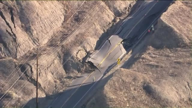 portion of vasquez canyon road remained closed indefinitely on november 20, 2015 after a landslide prompted buckling and significant damage along a... - santa clarita valley stock videos & royalty-free footage