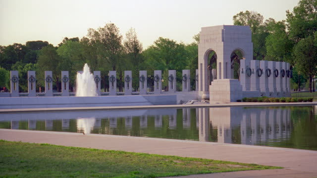 ms portion of world war two memorial at end of reflecting pool / washington d.c., united states - monument stock videos & royalty-free footage