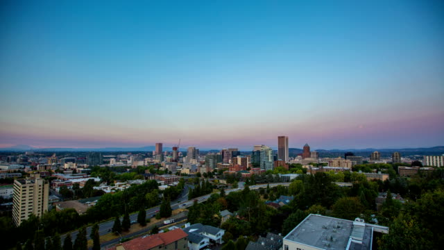 Portland Above Downtown Sunset