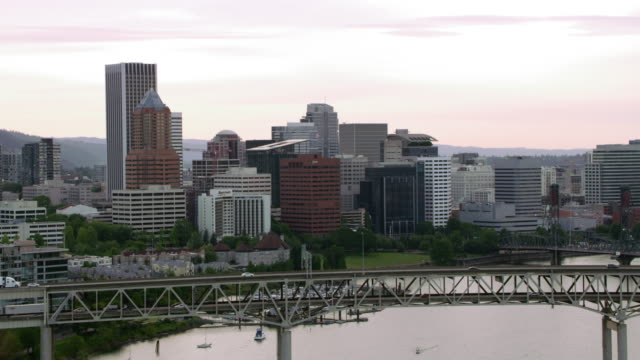 AERIAL Portland Downtown from the Willamette River
