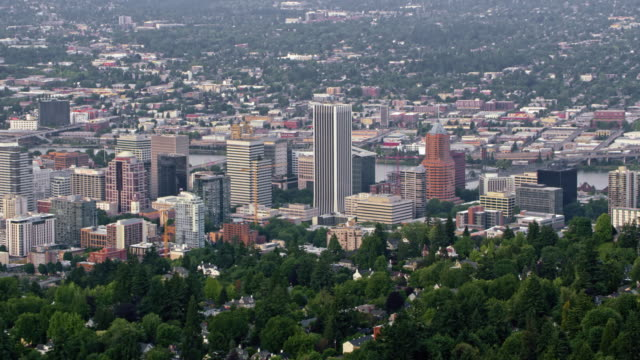 AERIAL Portland Downtown with Willamette river in the background