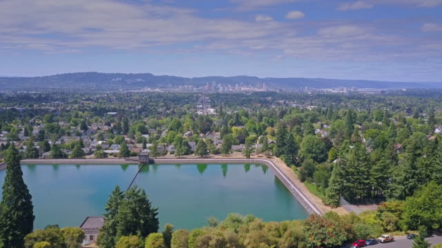 portland from mount tabor - aerial shot - reservoir stock videos and b-roll footage