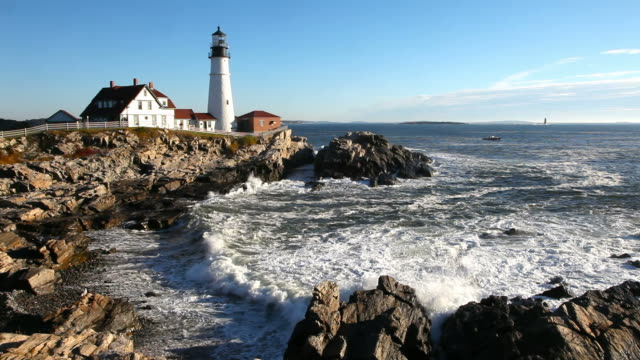 portland head lighthouse - maine stock videos & royalty-free footage
