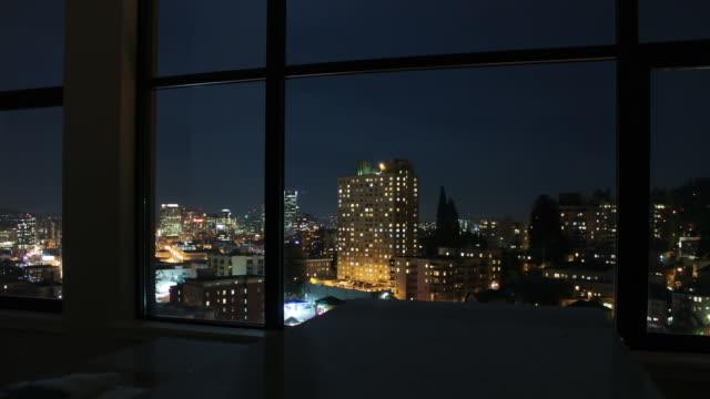 portland night - bay window stock videos and b-roll footage