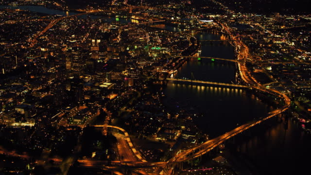 AERIAL Portland, Oregon at night