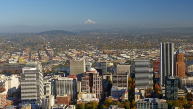 portland skyline aerial view 03 - mt hood stock videos & royalty-free footage
