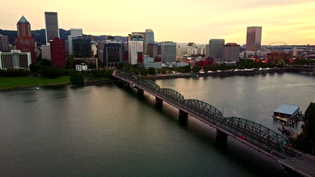portland skyline aerial view - portland oregon stock videos & royalty-free footage