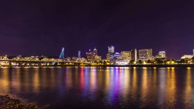portland skyline at night - time lapse - river willamette stock videos & royalty-free footage