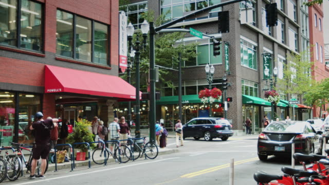 portland street scene near powell's city of books - portland oregon stock videos & royalty-free footage