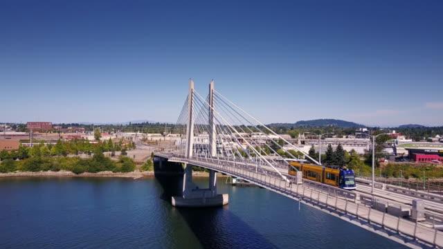 Portland Streetcar Crossing Willamette River at Tilikum Crossing