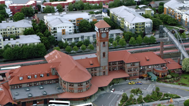 aerial portland union station in old town chinatown in portland, oregon - portland oregon old town stock videos & royalty-free footage