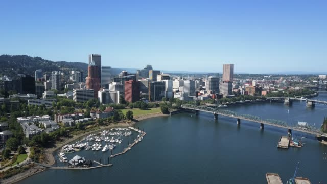 Portland Waterfront and the Willamette River - Aerial View