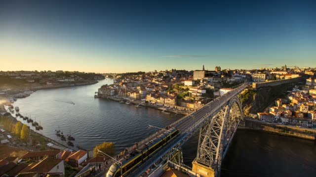 porto at sunset - time lapse - porto district portugal stock videos & royalty-free footage