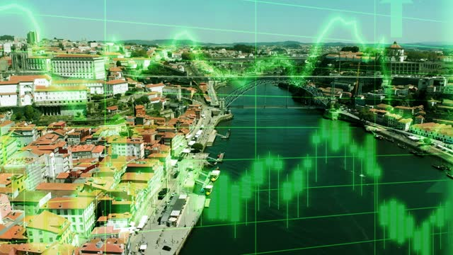 porto city skyline roof top scene with positive growth chart and graph data. concept piece to indicate improving tourism, gdp, stock market crash, recession, depression, inflation, deflation, bull market, good national economic and business performance - bull market stock videos & royalty-free footage