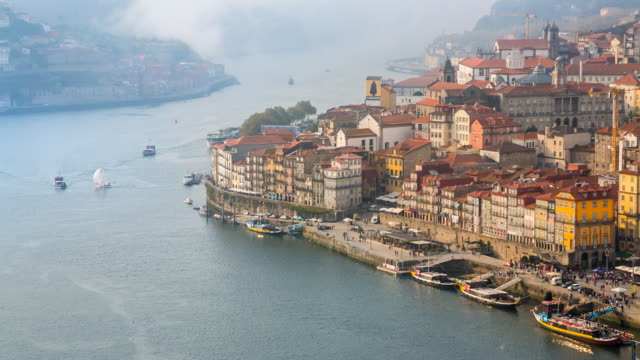 ws porto old town and douro river - portuguese culture stock videos & royalty-free footage