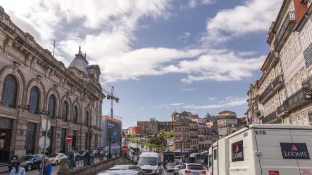 porto portugal time lapse 4k, city skyline timelapse at sao bento - porto district portugal stock videos & royalty-free footage