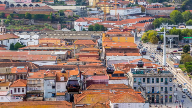 tl ws porto telecabine crossing over port wine warehouses - overhead cable car stock videos and b-roll footage