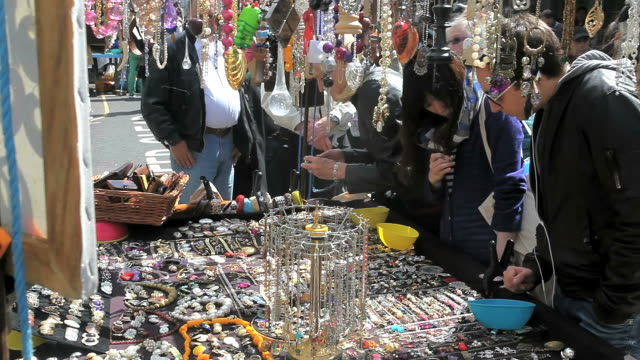 portobello road market in notting hill gate london - notting hill videos stock videos & royalty-free footage