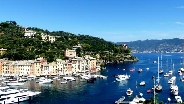 portofino from viewpoint - liguria stock videos & royalty-free footage