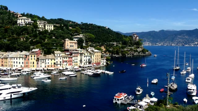 portofino from viewpoint - cote d'azur stock videos & royalty-free footage