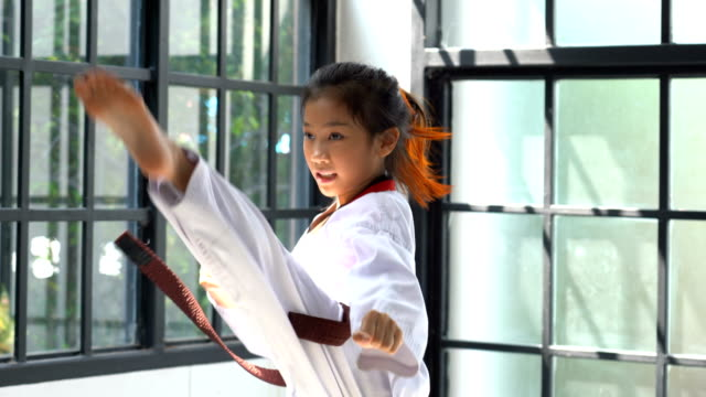 portrait asian girl taekwondo in studio - martial arts stock videos & royalty-free footage